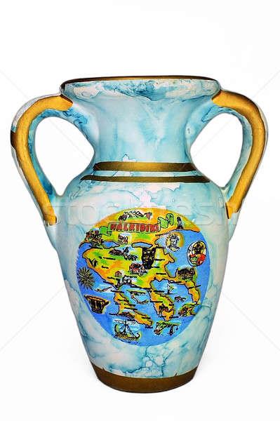Stock photo: Old blue vase