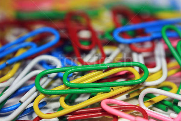 Lots of colorful abstract paper clips close up Stock photo © berczy04