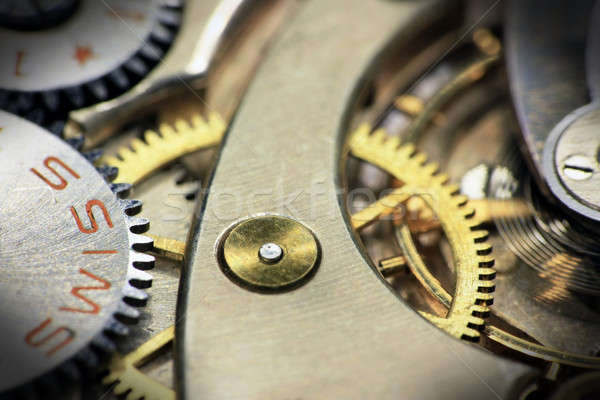 Old swiss made pocket watch inside Stock photo © berczy04