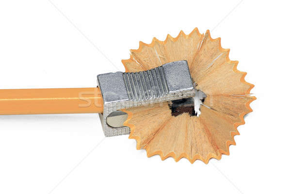 Sharpener with yellow pencil isolated on white Stock photo © berczy04