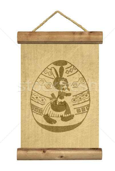 Wooden table with easter egg symbol Stock photo © berczy04