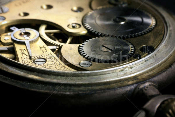 Pocket watch inside with wheels and springs Stock photo © berczy04