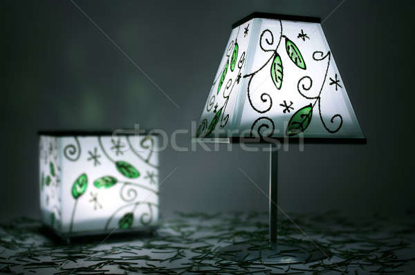 Two green candle lamps in darkness Stock photo © berczy04