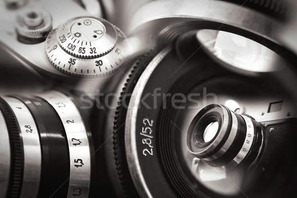 Old russian photo camera montage Stock photo © berczy04