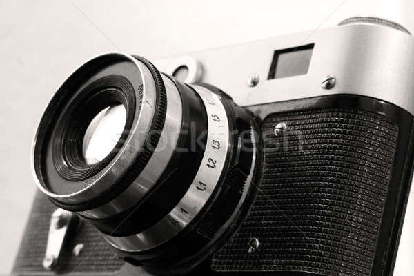 Stock photo: Vintage russian camera in sepia