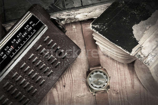 Old bag radio with watch Stock photo © berczy04