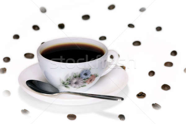 Coffee cup and spoon & beans Stock photo © berczy04