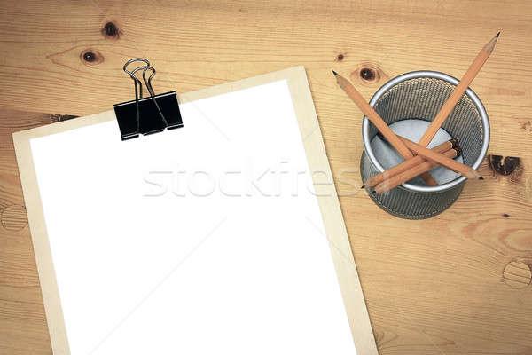 Foto stock: Branco · papel · mesa · de · madeira · lápis · negócio · madeira