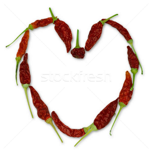 Heart of chili peppers Stock photo © berczy04