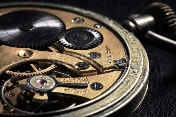 Pocket watch inside with wheels and springs close up Stock photo © berczy04