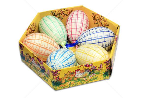 Six easter eggs in box Stock photo © berczy04