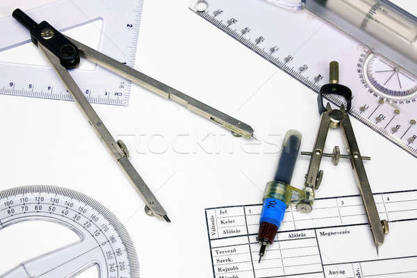 Stock photo: Technical tracing paper and rulers, calipers