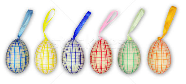 Six easter eggs in line Stock photo © berczy04