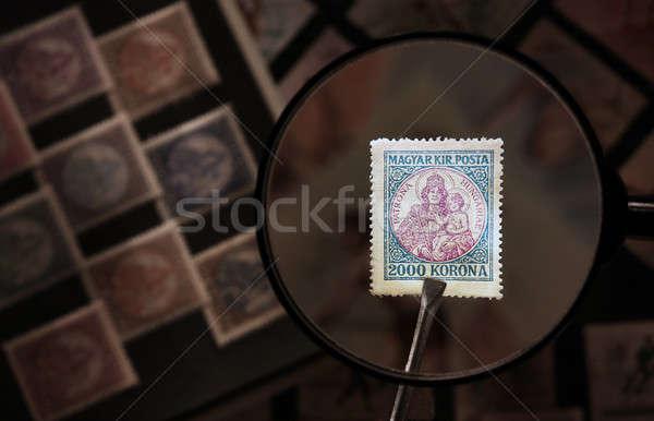 старые пост марок увеличительное стекло альбома Сток-фото © berczy04