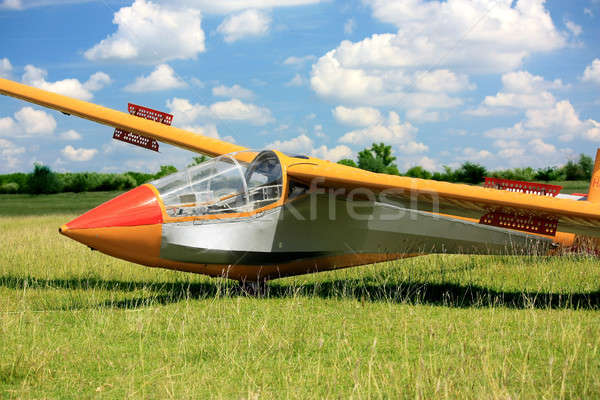 Hungarian glider plane on green grass Stock photo © berczy04