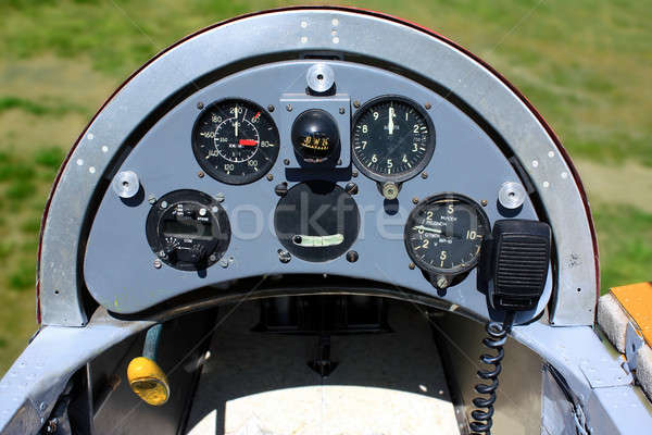 Old Hungarian glider airplane instrument panel Stock photo © berczy04