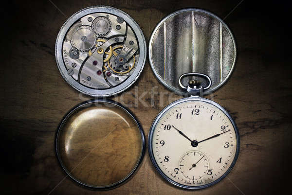 Stock photo: Pocket watch, inside and covers