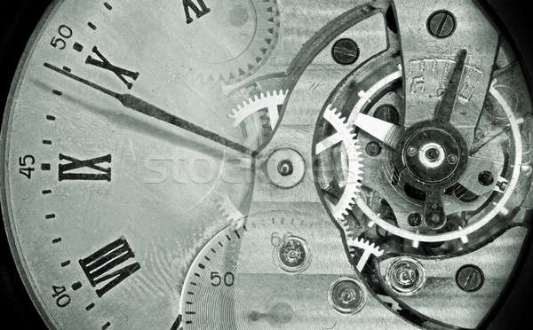 Vintage pocket watch green montage Stock photo © berczy04