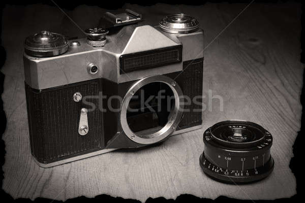 Old manual camera with own lens Stock photo © berczy04