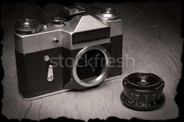 古い マニュアル カメラ 独自の レンズ 木製 ストックフォト © berczy04