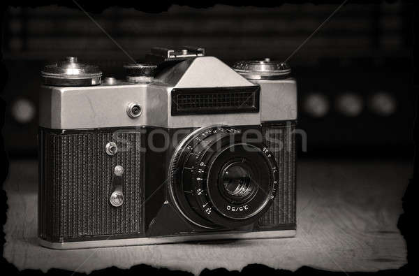 Old manual camera with old radio Stock photo © berczy04