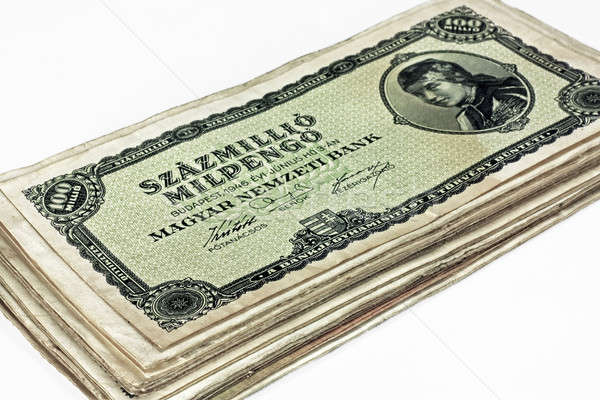 Old Hungarian hundreds of millions pengo currency isolated Stock photo © berczy04