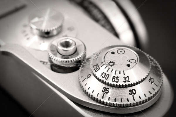 Old photo camera shutter button close up Stock photo © berczy04
