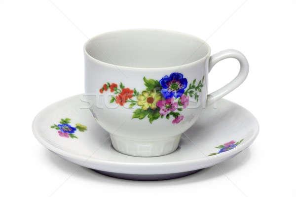 Xícara de café isolado flor branco café restaurante Foto stock © berczy04