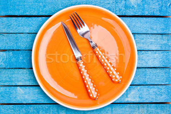 Leer Platte Küche Abendessen Messer Farbe Stock foto © bernashafo