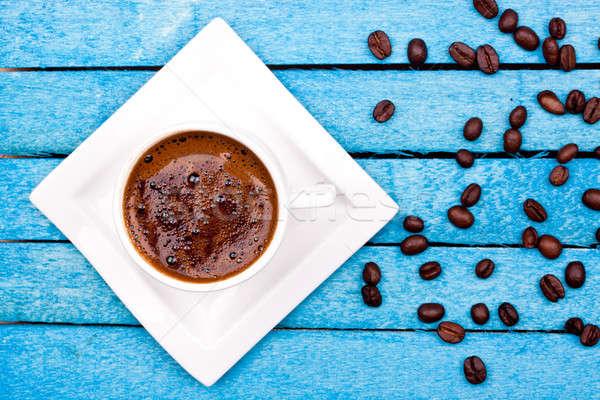 トルコ語 コーヒー 青 木製 表 ドリンク ストックフォト © bernashafo
