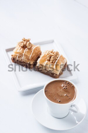 Turkish coffee and baklava on a white background Stock photo © bernashafo