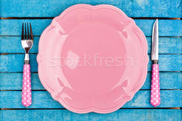 Leer rosa Platte Küche Abendessen Farbe Stock foto © bernashafo