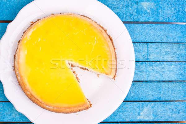 Zitrone Käsekuchen Holz Essen Hintergrund Käse Stock foto © bernashafo