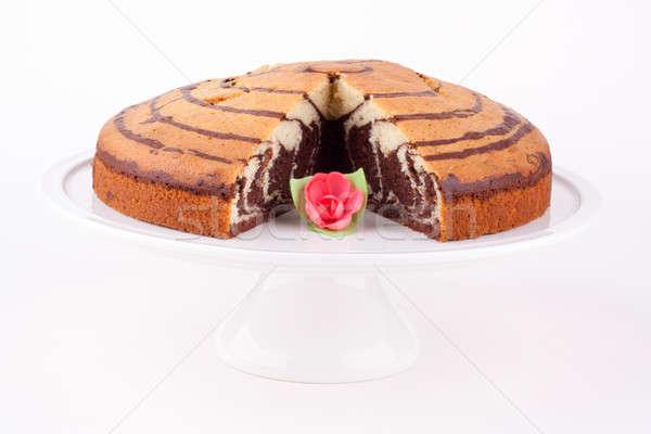 Marmor Kuchen Hintergrund weiß Studio Dessert Stock foto © bernashafo
