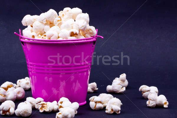 Popcorn Eimer Essen Hintergrund Tabelle rot Stock foto © bernashafo