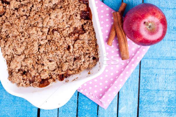 Apfel Dessert blau Holz Obst Herbst Stock foto © bernashafo