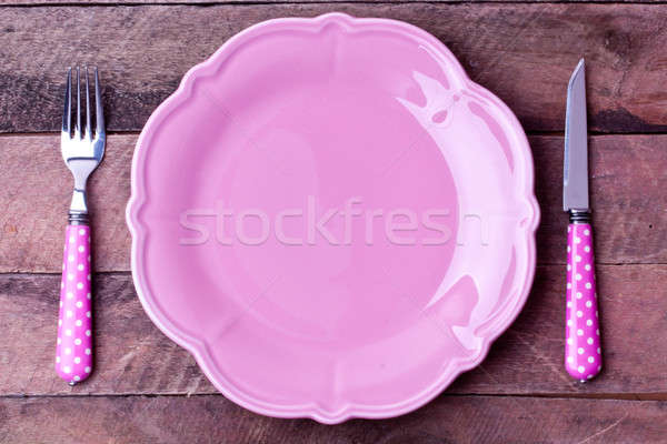 empty plate and fork,knife Stock photo © bernashafo