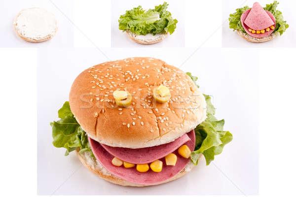 Sandwich Kinder weiß Gesicht glücklich Kind Stock foto © bernashafo