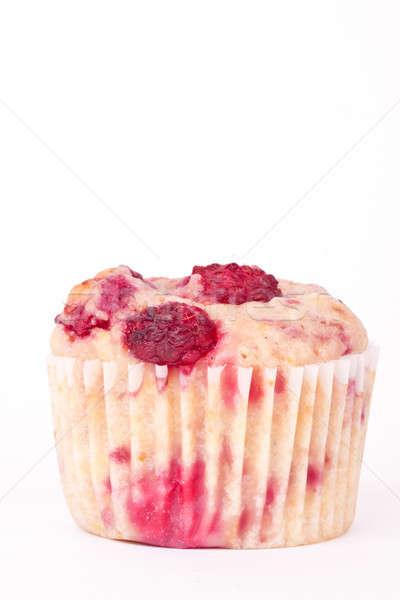 Framboos muffin witte cake aardbei ontbijt Stockfoto © bernashafo