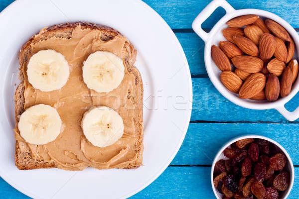 Pain beurre d'arachide crème bois alimentaire fruits Photo stock © bernashafo