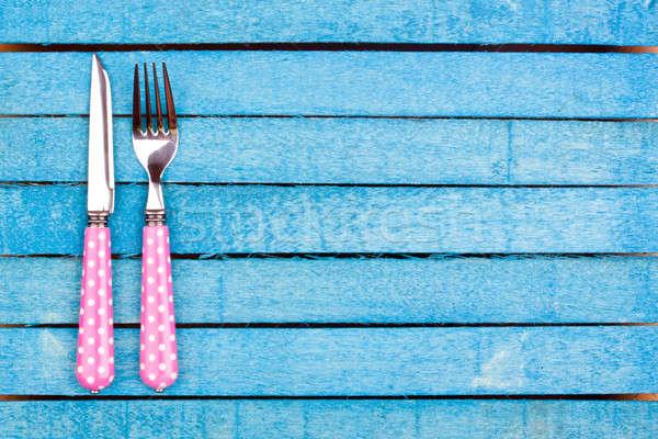 Rosa Gabel Messer blau Holz Stock foto © bernashafo