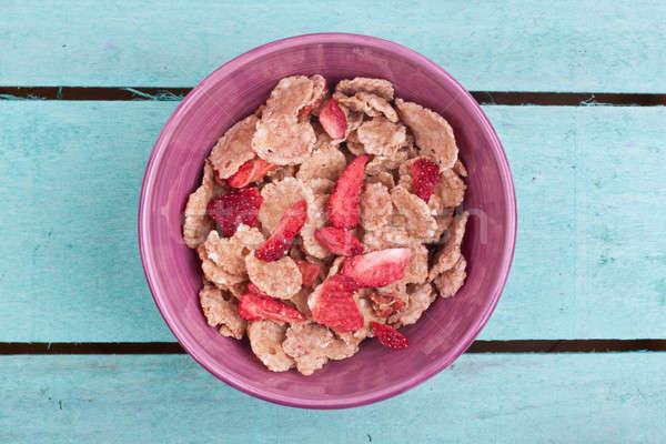 Schüssel Getreide Holz Essen Obst Hintergrund Stock foto © bernashafo