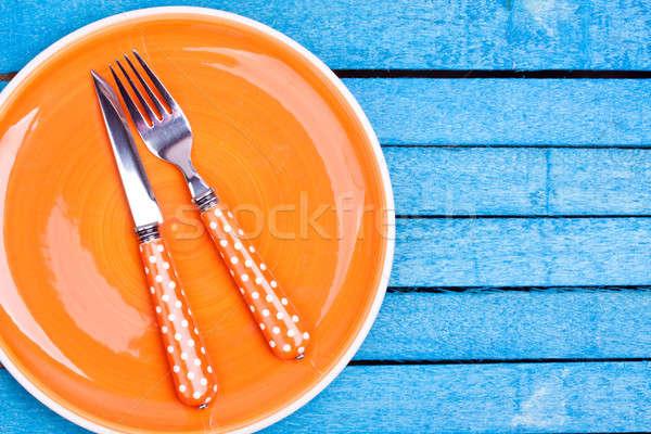 Leer Platte orange Restaurant Abendessen Messer Stock foto © bernashafo