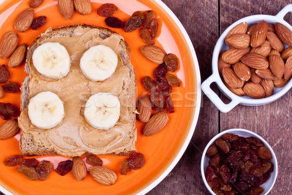 Brood pindakaas room houten voedsel vruchten Stockfoto © bernashafo