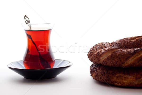 Türk çay simit cam arka plan kahvaltı Stok fotoğraf © bernashafo