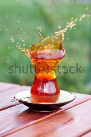 Cam türk çay tablo gıda içmek Stok fotoğraf © bernashafo