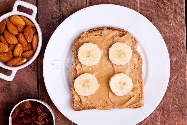 хлеб Арахисовое масло кремом продовольствие фрукты Сток-фото © bernashafo