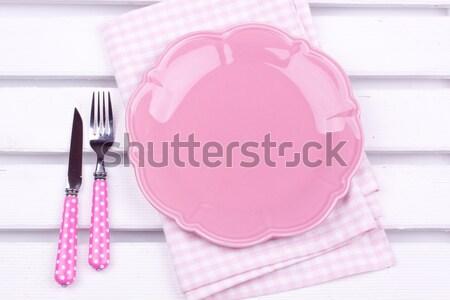 Stock foto: Leer · Platte · rosa · Hintergrund · Restaurant