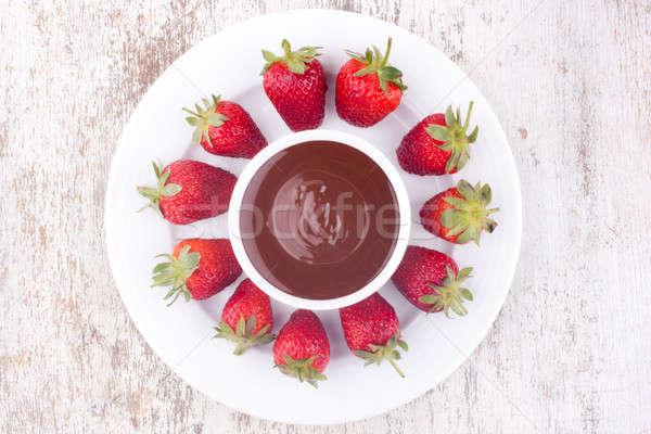 chocolate fondue with strawberry Stock photo © bernashafo