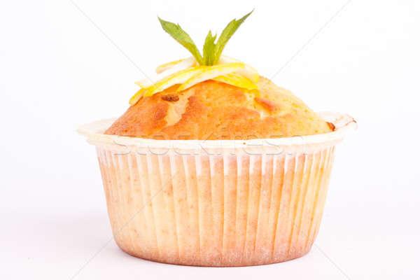 Zitrone Muffin weiß Kuchen Frühstück Dessert Stock foto © bernashafo